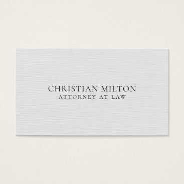 Lawyer Themed Minimalist Elegant Texture White Attorney at Law Business Card