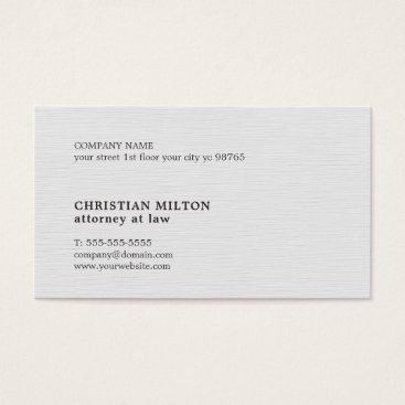 Lawyer Themed Minimalist Elegant Texture White Attorney Business Card