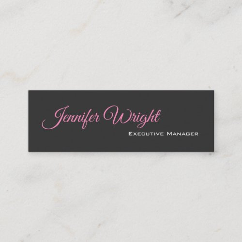 Minimalist elegant unique modern grey plain mini business card