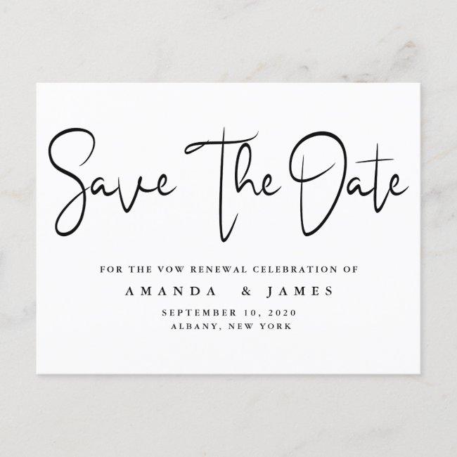 Minimalist Elegant Vow Renewal Save The Date Announcement Postcard
