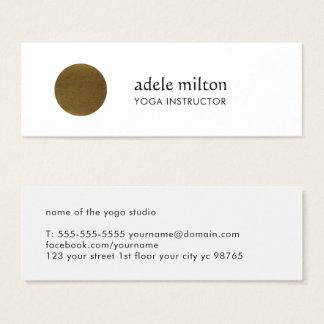 Minimalist Elegant White Faux Copper Circle Yoga Mini Business Card