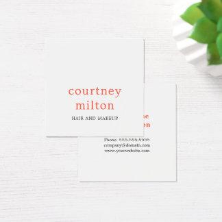 Minimalist Elegant White Orange Red Makeup Artist Square Business Card