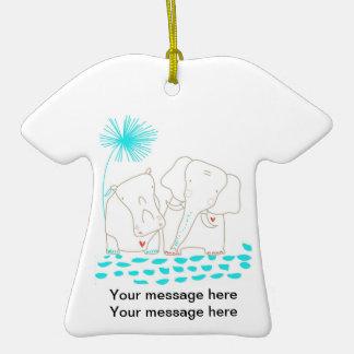 Minimalist Elephant and Hippo - Aqua and White Ornaments