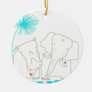 Minimalist Elephant and Hippo - Aqua and White Christmas Ornaments