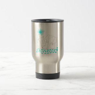 Minimalist Elephant and Hippo - Aqua and White Travel Mug