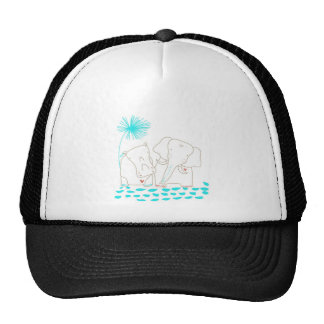 Minimalist Elephant and Hippo - Aqua and White Trucker Hat