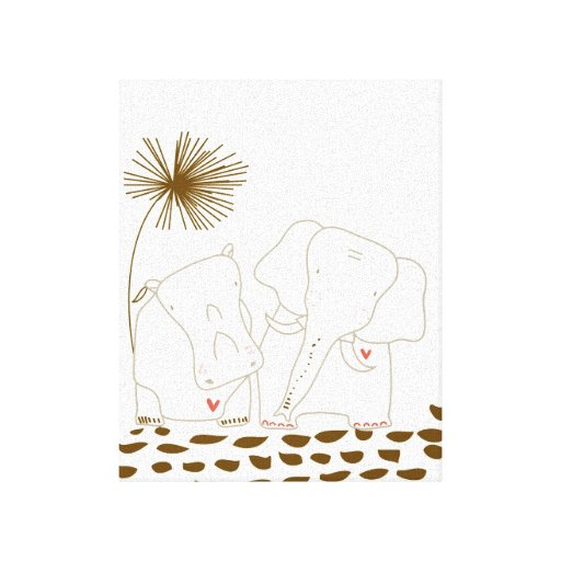 Minimalist Elephant and Hippo - Brown and White Canvas Print