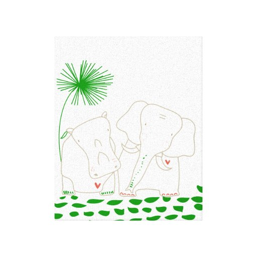 Minimalist Elephant and Hippo - Green and White Stretched Canvas Prints