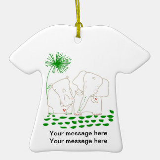Minimalist Elephant and Hippo - Green and White Christmas Tree Ornaments