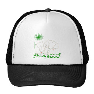 Minimalist Elephant and Hippo - Green and White Trucker Hat