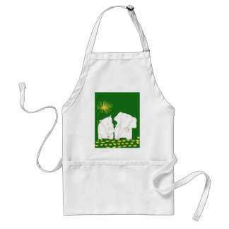 Minimalist Elephant and Hippo - Yellow and Green Adult Apron