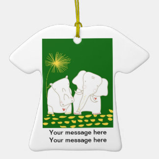 Minimalist Elephant and Hippo - Yellow and Green Christmas Ornament