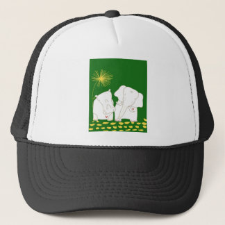 Minimalist Elephant and Hippo - Yellow and Green Trucker Hat