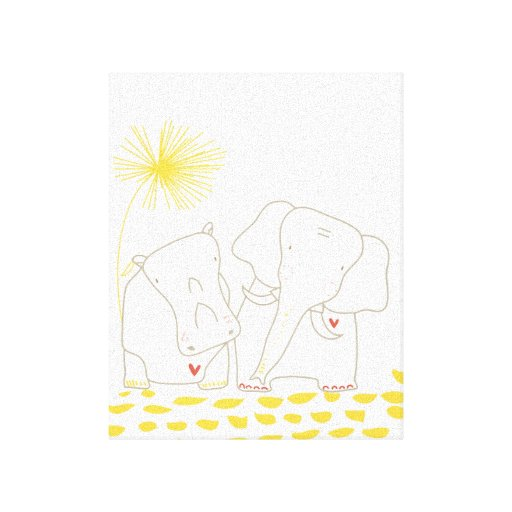 Minimalist Elephant and Hippo - Yellow and White Canvas Prints