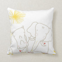 Minimalist Elephant and Hippo - Yellow and White Throw Pillow