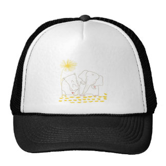 Minimalist Elephant and Hippo - Yellow and White Trucker Hat