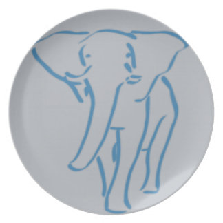 minimalist elephant drawing party plate