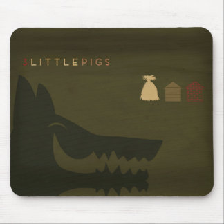 Minimalist Fairy Tales | The 3 Little Pigs Mouse Pad