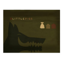 Minimalist Fairy Tales | The 3 Little Pigs Postcard