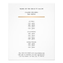 Minimalist Faux Gold Line Beauty Salon Menu