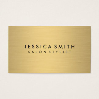 Minimalist Faux Metallic Gold Brushed Business Card