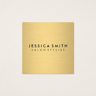 Minimalist Faux Metallic Gold Square Business Card