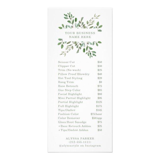 Minimalist Foliage   Salon Price List Rack Card