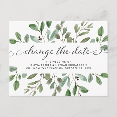 Minimalist Foliage | Wedding Change the Date Announcement Postcard