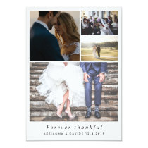 Minimalist Forever Thankful Couple Photo Wedding Card
