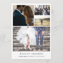 Minimalist Forever Thankful Couple Photo Wedding Thank You Card