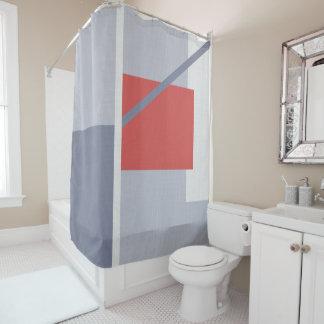 Minimalist Geometric Art Shapes Blue Coral White Shower Curtain