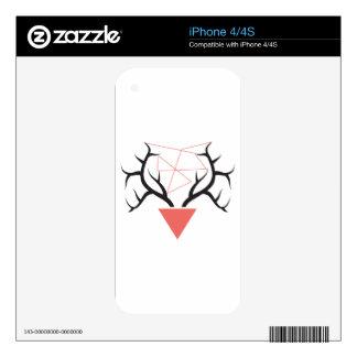 Minimalist Geometric Deer Antlers iPhone 4S Decals
