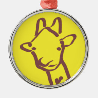 minimalist Giraffe Drawing Metal Ornament