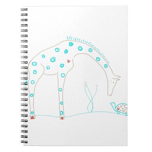 Minimalist Giraffe - White and Aqua Spiral Notebook