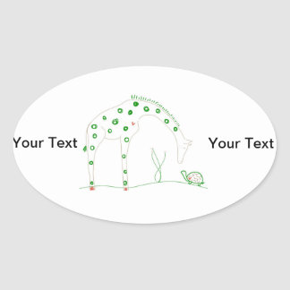 Minimalist Giraffe - White and Green Oval Sticker