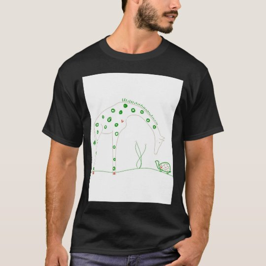 Minimalist Giraffe - White and Green T-Shirt