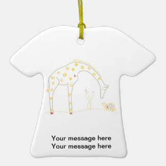 Minimalist Giraffe - White and Yellow Christmas Ornament