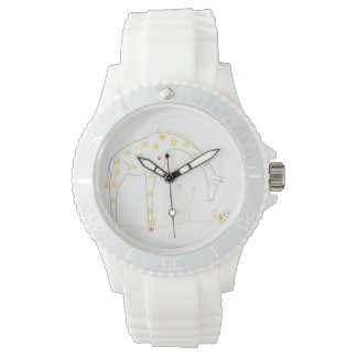 Minimalist Giraffe - White and Yellow Wristwatch