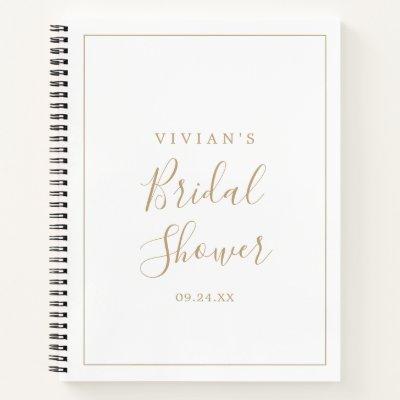 Minimalist Gold Bridal Shower Gift List Notebook
