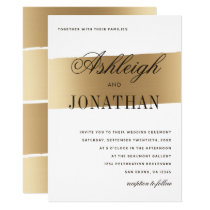 Minimalist Gold Brush Stroke Wedding Invitation