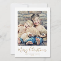 Minimalist Gold Merry Christmas Portrait Photo Holiday Card