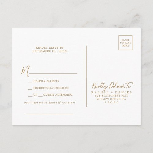 Minimalist Gold Song Request RSVP Postcard