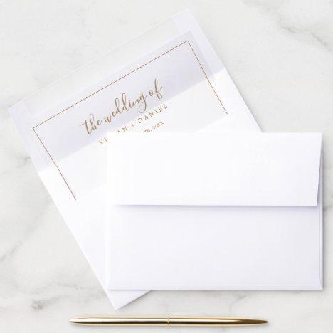 Minimalist Gold Wedding Envelope Liner