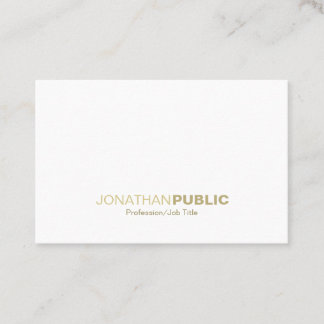 Minimalist Gold White Plain Modern Fashionable Business Card