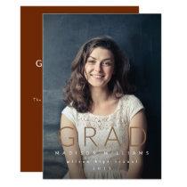 Minimalist GRAD photo graduation party invitation