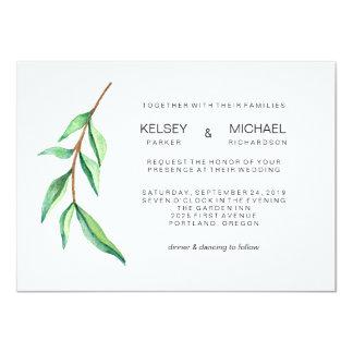 Minimalist Green Leaves Modern Wedding Invitation