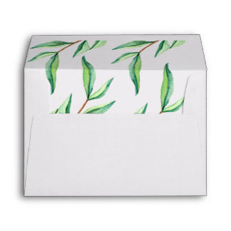 Minimalist Green Leaves on White Envelope