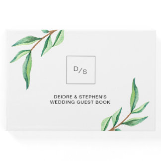 Minimalist Green Leaves on White | Wedding Guest Book