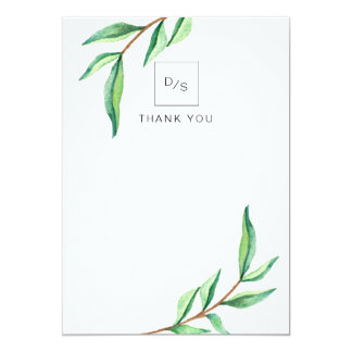 Minimalist Green Leaves on White Wedding Thank You Card