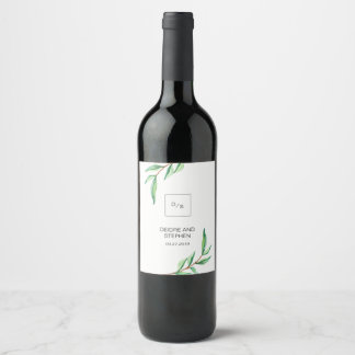 Minimalist Green Leaves on White Wedding Wine Label